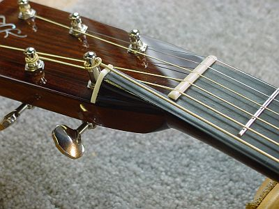 Mini-Harp Guitar; headstock and nut detail